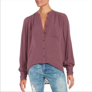 Free People The Best Button Front Blouse Purple